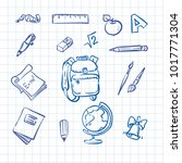 school tools icon line | Shutterstock .eps vector #1017771304