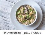 portion of creamy mushroom...   Shutterstock . vector #1017772039