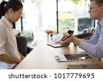 furious boss scolding... | Shutterstock . vector #1017779695