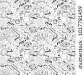 pizza seamless pattern hand... | Shutterstock .eps vector #1017781459