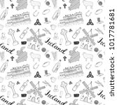 ireland sketch doodles seamless ... | Shutterstock .eps vector #1017781681