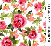 seamless pattern of peony... | Shutterstock .eps vector #1017784654