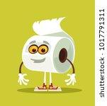 happy smiling toilet paper...   Shutterstock .eps vector #1017791311
