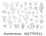 set of hand drawn different... | Shutterstock .eps vector #1017792511