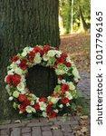 classic sympathy wreath near a... | Shutterstock . vector #1017796165
