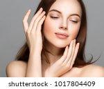 adult woman portrait  skin care ... | Shutterstock . vector #1017804409