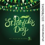 happy saint patrick's day hand... | Shutterstock .eps vector #1017806041