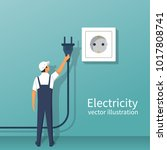 electric power plug holding in... | Shutterstock .eps vector #1017808741
