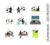 lover soccer set. man and... | Shutterstock . vector #1017814537