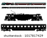 simplified passenger train... | Shutterstock .eps vector #1017817429