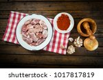 raw and fresh suckling pig... | Shutterstock . vector #1017817819