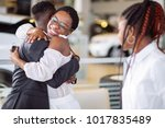 smiling couple hugging and... | Shutterstock . vector #1017835489