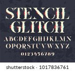 glith alphabet. glitch font and ... | Shutterstock .eps vector #1017836761