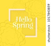 hello spring poster with paper... | Shutterstock .eps vector #1017843859