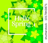 hello spring poster with paper... | Shutterstock .eps vector #1017843871