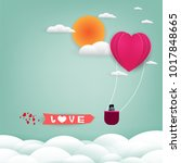 red and pink  hearts paper with ... | Shutterstock .eps vector #1017848665