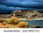 lone rock beach lake powell in... | Shutterstock . vector #1017852751