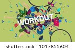 colorful attractive 3d rendered ... | Shutterstock . vector #1017855604