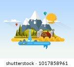 flat vector farmland abstract... | Shutterstock .eps vector #1017858961