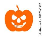 pumpkin skull profile halloween ... | Shutterstock .eps vector #1017865507