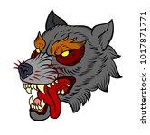 the head bared ferocious wolf.... | Shutterstock .eps vector #1017871771