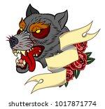 the head bared ferocious wolf.... | Shutterstock .eps vector #1017871774