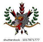 the head bared ferocious wolf.... | Shutterstock .eps vector #1017871777
