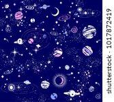 space galaxy constellation... | Shutterstock .eps vector #1017872419