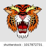portrait of the evil tiger in... | Shutterstock .eps vector #1017872731