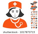 physician lady icon with bonus... | Shutterstock .eps vector #1017873715