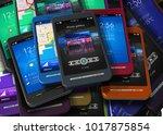 3d illustration of smart phones | Shutterstock . vector #1017875854