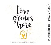 love grows here. valentines day ... | Shutterstock .eps vector #1017876574
