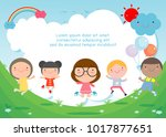 Kids jumping on the playground, children jump with joy, happy cartoon child playing on background, Template for advertising brochure,your text , Kids and frame,child and frame,Vector Illustration | Shutterstock vector #1017877651