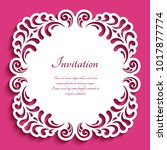 square vector frame with lace... | Shutterstock .eps vector #1017877774
