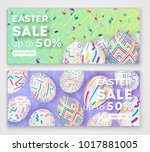 Easter Banners With 3d Ornate...