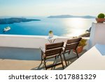 two chairs on the terrace with... | Shutterstock . vector #1017881329