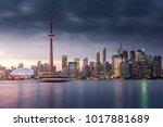sunset over modern buildings in ... | Shutterstock . vector #1017881689