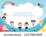 back to school  kids school ...   Shutterstock .eps vector #1017881809