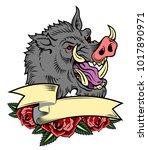portrait of a malicious boar in ... | Shutterstock .eps vector #1017890971