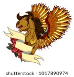 portrait of a pegasus horse in... | Shutterstock .eps vector #1017890974