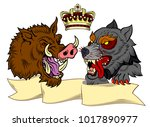 portrait of a boar and a wolf... | Shutterstock .eps vector #1017890977
