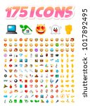 set of 175 realistic cute icons ... | Shutterstock .eps vector #1017892495