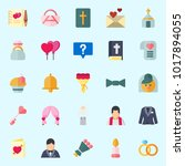 icons about wedding with chat ... | Shutterstock .eps vector #1017894055
