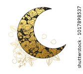 moon with floral ornament.... | Shutterstock .eps vector #1017898537