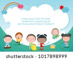 children collect rubbish for... | Shutterstock .eps vector #1017898999