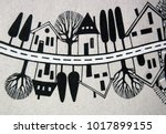 illustrated street with houses... | Shutterstock . vector #1017899155