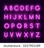 vector neon alphabet. realistic ... | Shutterstock .eps vector #1017901189
