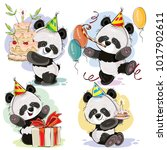 set cute baby panda bears in... | Shutterstock .eps vector #1017902611