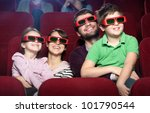 smiling family in the 3d movie...   Shutterstock . vector #101790544