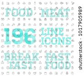 196 food and drink thin vector... | Shutterstock .eps vector #1017905989